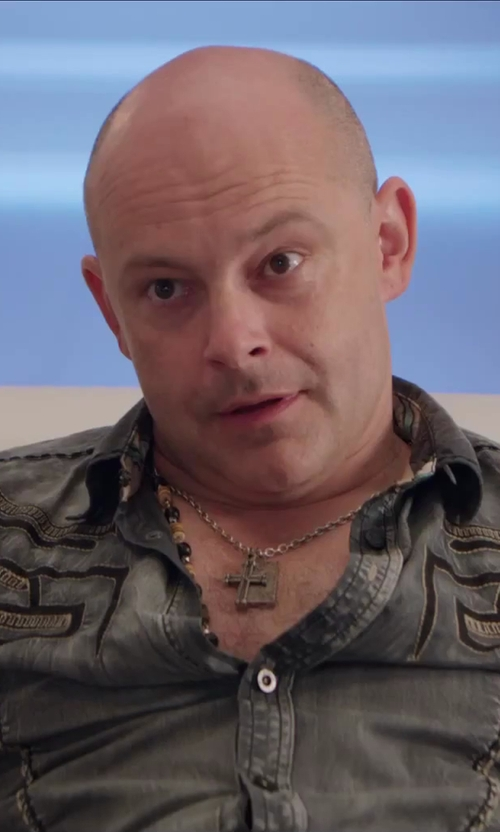 Rob Corddry with Amazon Curated Collection Men's Stainless Steel Dog Tag and Cross Pendant Necklace in Hot Tub Time Machine 2