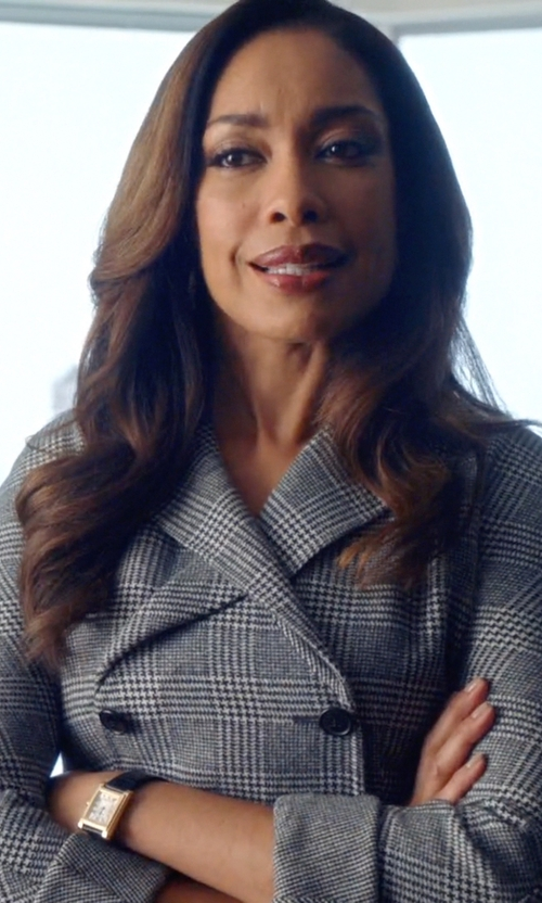 Gina Torres with Tory Burch Buddy Classic Leather-Strap Watch in Suits