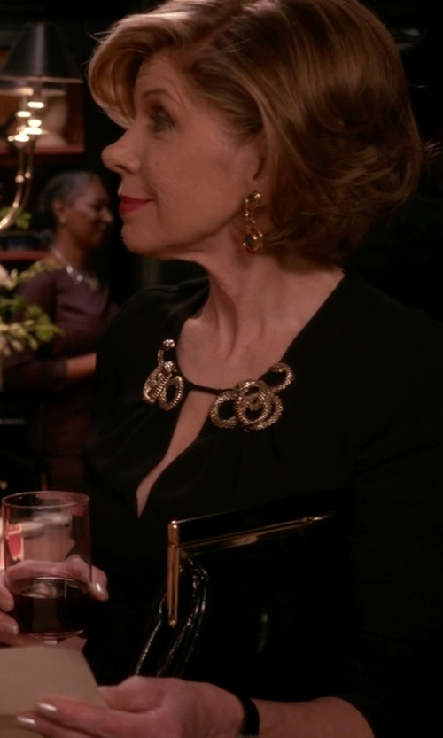 Christine Baranski with Sara Battaglia Lady Me Leather Clutch Bag in The Good Wife
