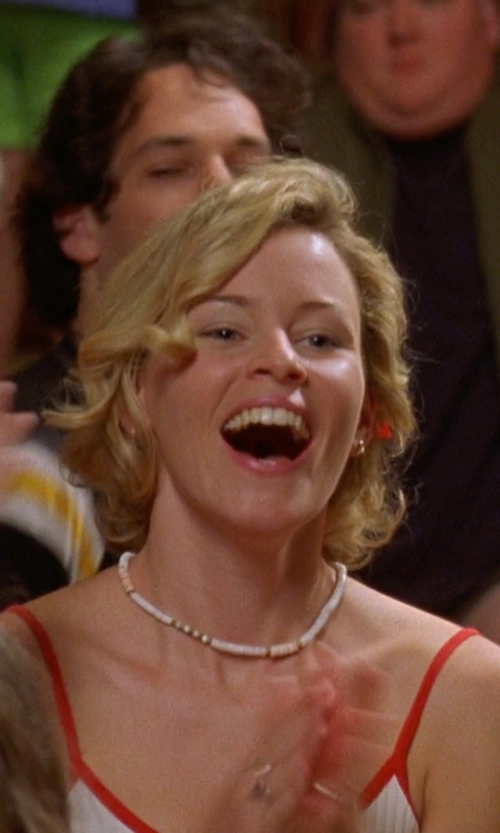 Elizabeth Banks with Hawaiian Heirloom Jewelry Puka Shell Necklace in Wet Hot American Summer