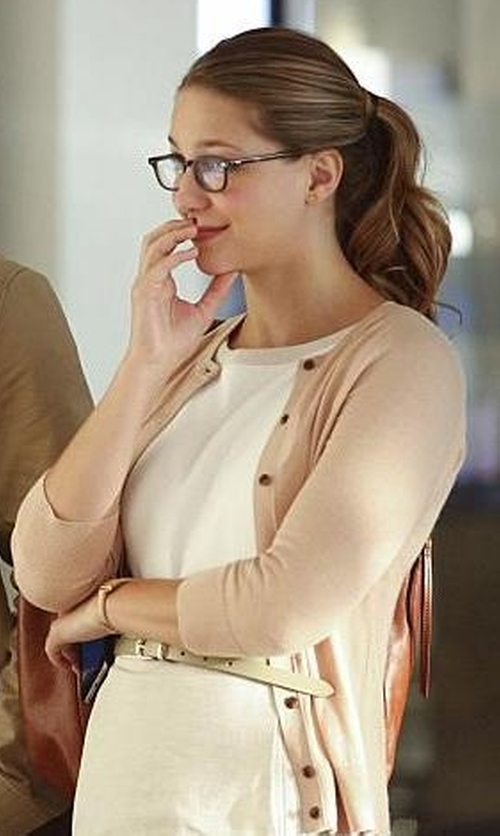 Melissa Benoist with Michael Kors Featherweight Cashmere Cardigan in Supergirl