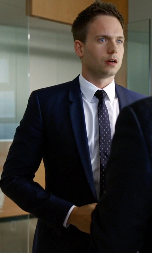 Patrick J. Adams with Tom Ford	 Polka Dot-Print Silk Tie in Suits