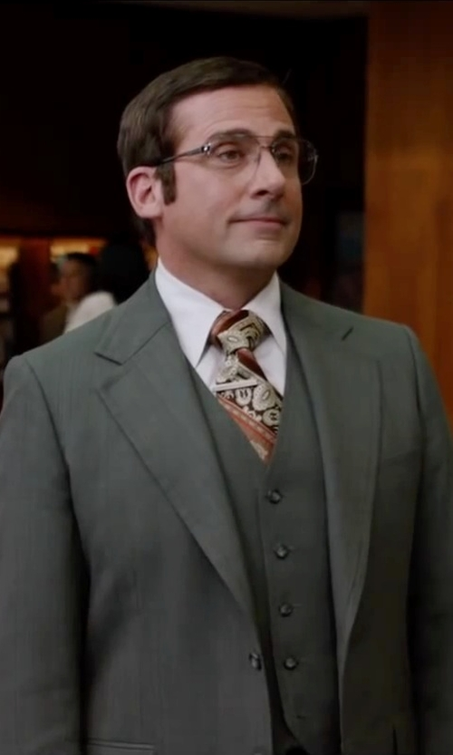 Steve Carell with Squire Tab Collar Shirt in Anchorman 2: The Legend Continues