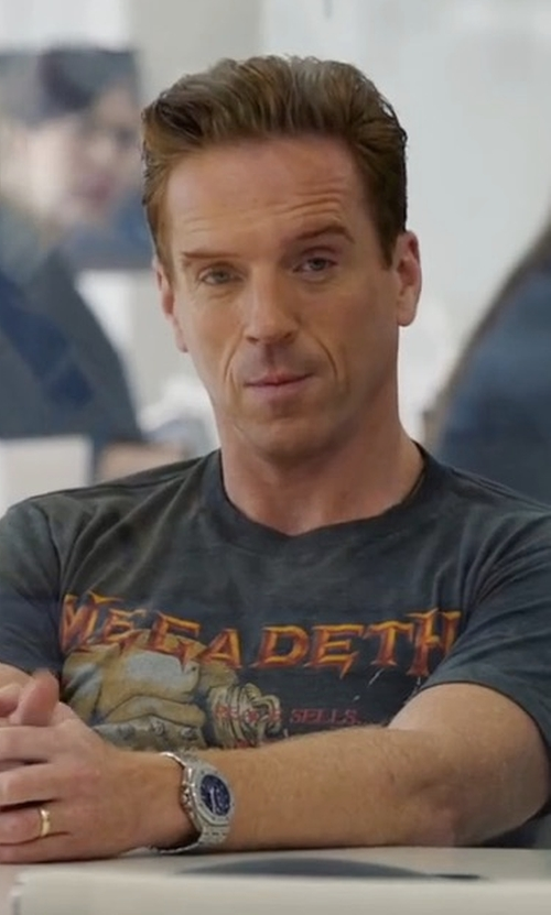 Damian Lewis with Hot Topic Megadeth Drop Bombs T-Shirt in Billions