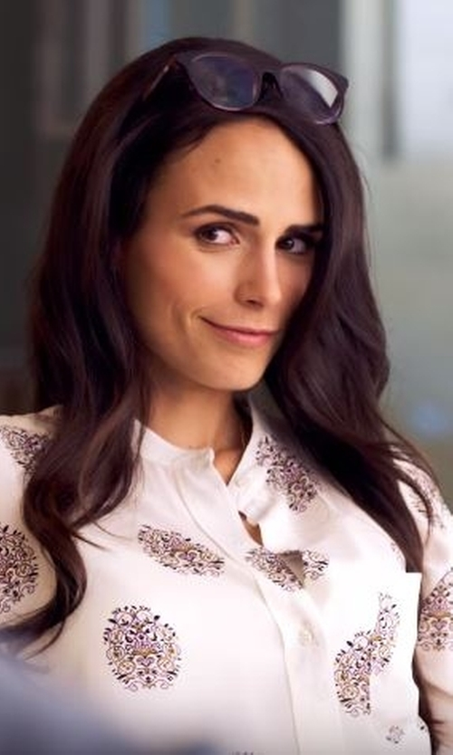 Jordana Brewster with A.L.C. Danielle Printed Tie Neck Blouse in Lethal Weapon