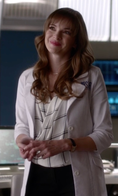 Danielle Panabaker with French Connection Checked Drape Top in The Flash