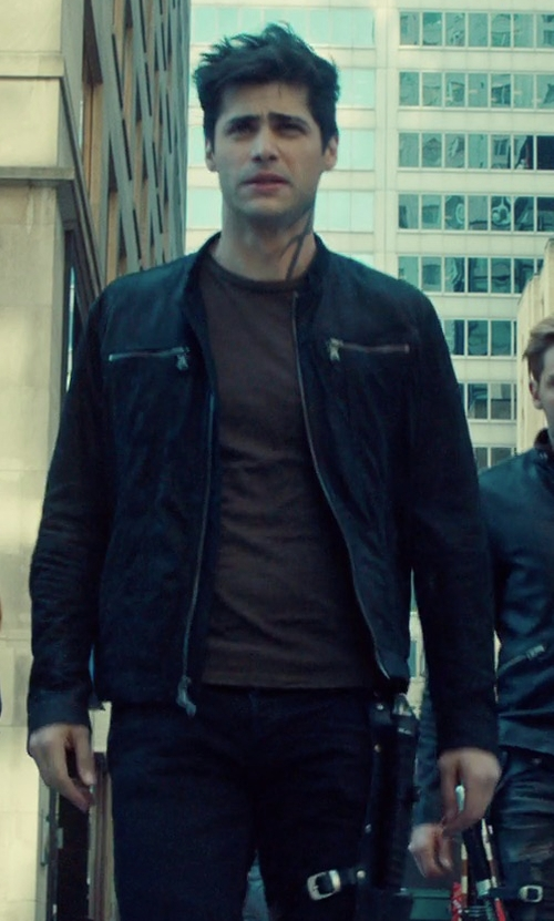 Matthew Daddario with John Varvatos Star U.S.A. Leather Zip-Front Jacket in Shadowhunters