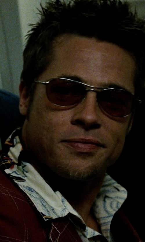 Brad Pitt with Paradise Found Mens Double Orchid Shirt in Fight Club