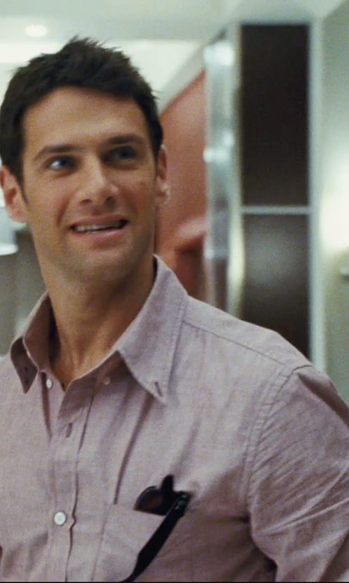 Justin Bartha with Ralph Lauren Solid Linen Shirt in The Hangover