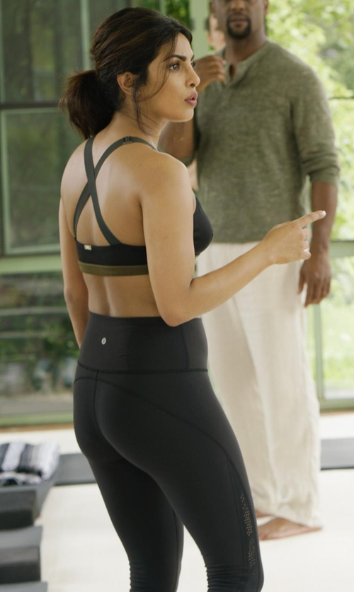 Priyanka Chopra with Lululemon Alighn Crop Leggings in Quantico