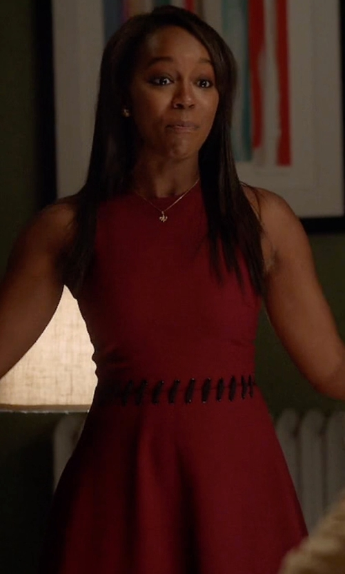 Aja Naomi King with Elizabeth and James 'Carter' Lace-Up Detail Fit & Flare Dress in How To Get Away With Murder