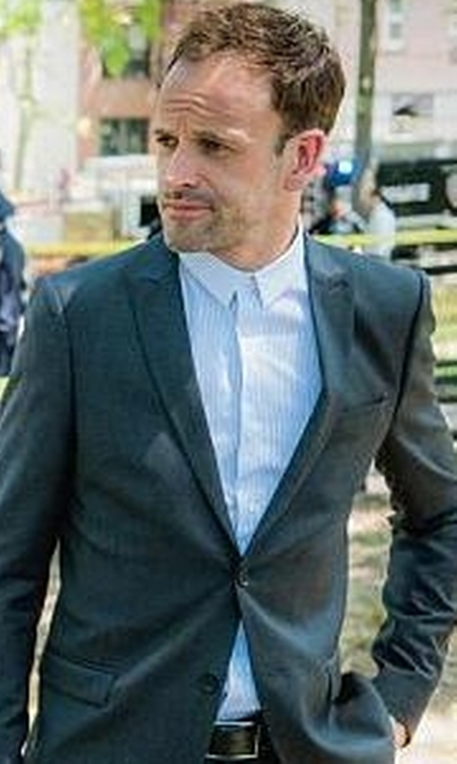 Jonny Lee Miller with Eton of Sweden Contemporary-Fit Tonal Stripe Formal Dress Shirt in Elementary