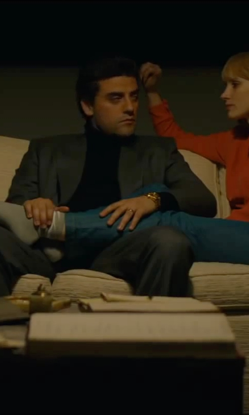 Oscar Isaac with Vince Camuto Merino Wool Turtleneck Sweater in A Most Violent Year