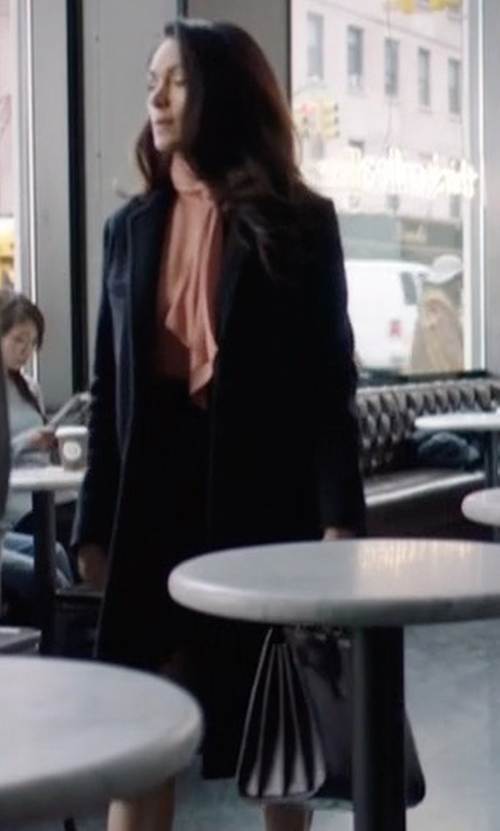 Lela Loren with DKNY Long Tailored Wool-Blend Coat in Power