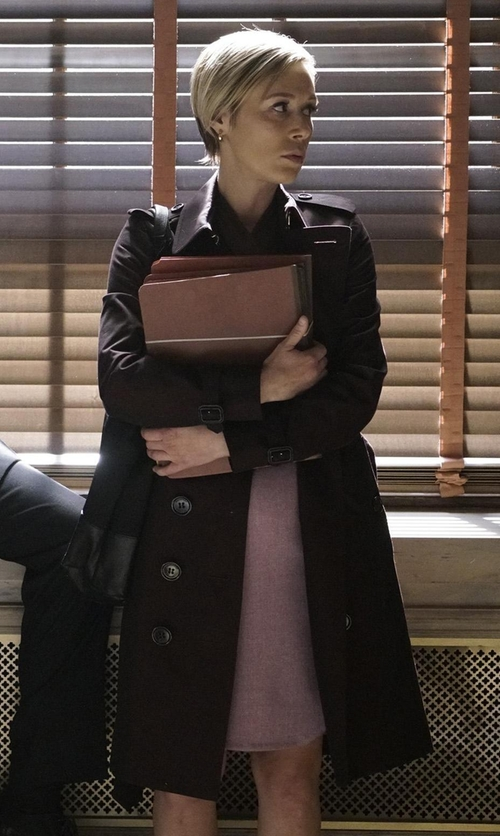 Liza Weil with Ashley B Washed Cotton-Blend Trench Coat in How To Get Away With Murder