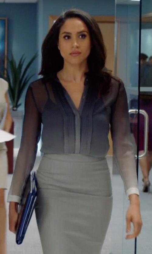Meghan Markle with Burberry Black Dégradé Silk Shirt in Suits