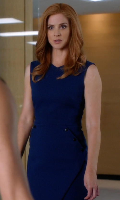 Sarah Rafferty with Victoria Beckham Crepe Sheath Dress in Suits
