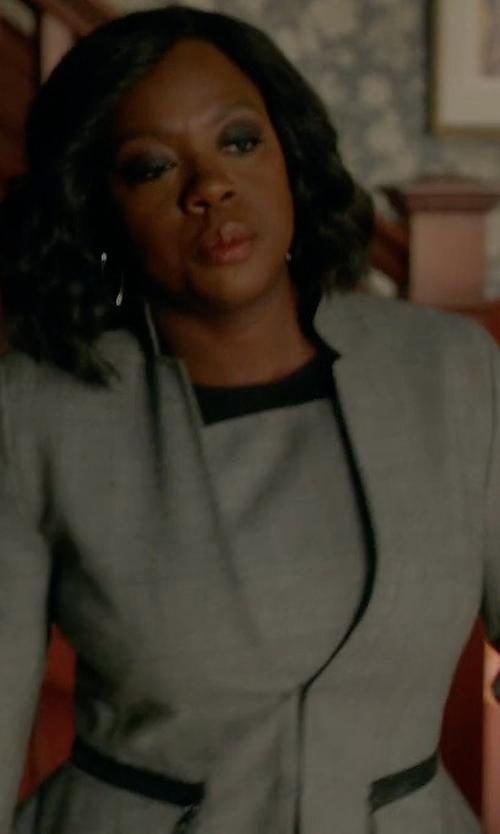 Viola Davis with Akris Punto Wool Peplum Jacket in How To Get Away With Murder
