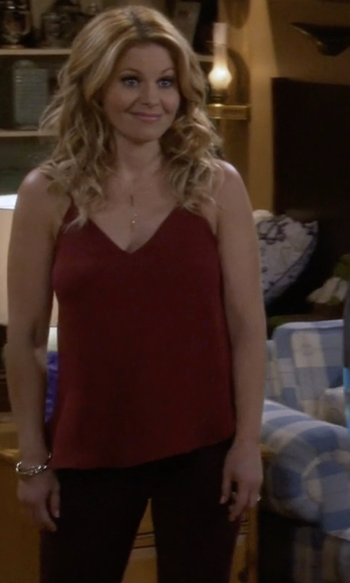 Candace Cameron Bure with L'Agence Jane Scoopback Silk Tank Top in Fuller House