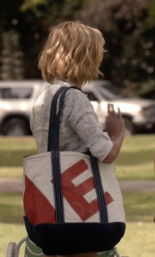 Julie Bowen with Cathy's Concepts Personalized Stripe Canvas Tote Bag in Modern Family