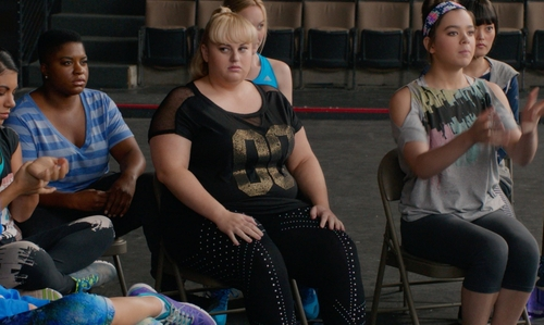 Rebel Wilson with Torrid Black Mesh Jersey-Inspired Top in Pitch Perfect 2