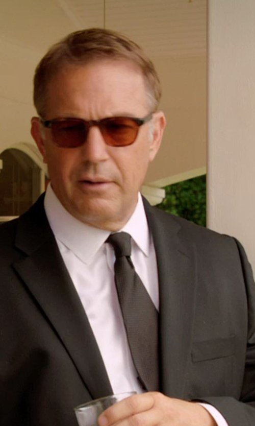 Kevin Costner with Brioni Solid Silk Satin Tie in Black or White