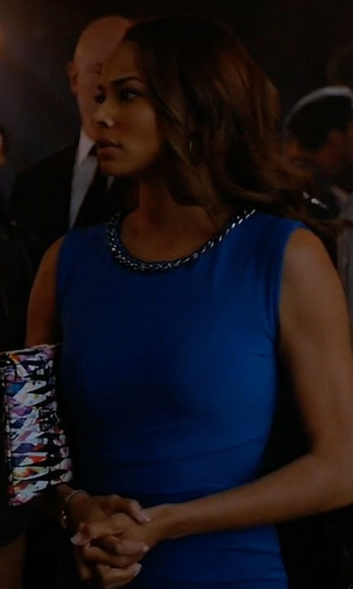 Rochelle Aytes with Nine West Cap-Sleeve Ruched Sheath Dress in Mistresses