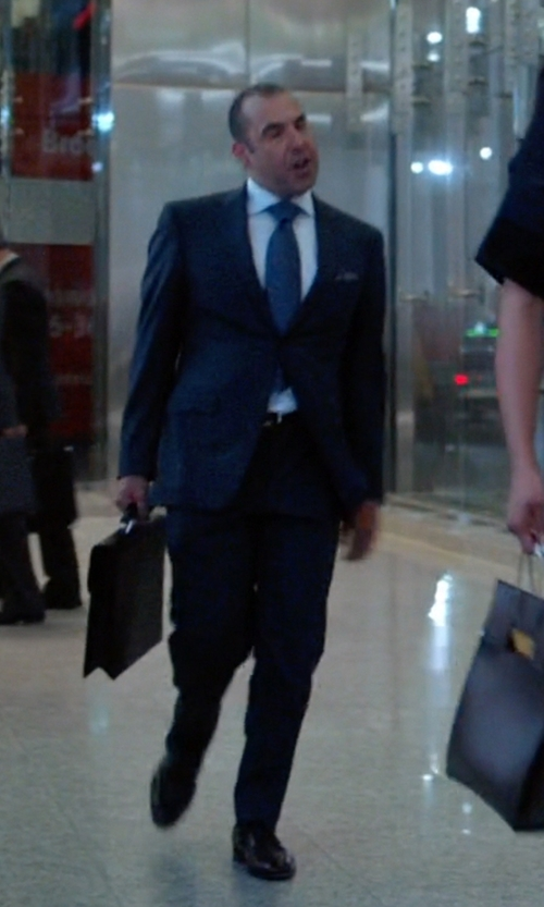 Rick Hoffman with Giorgio Armani Rubber-Bottom Dress Oxford Shoes in Suits