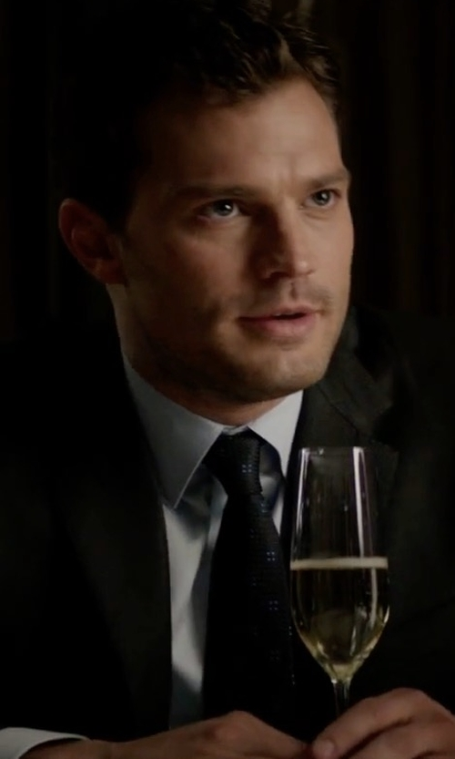 Jamie Dornan with Vitaliano Square Circle-Print Silk Tie in Fifty Shades Darker