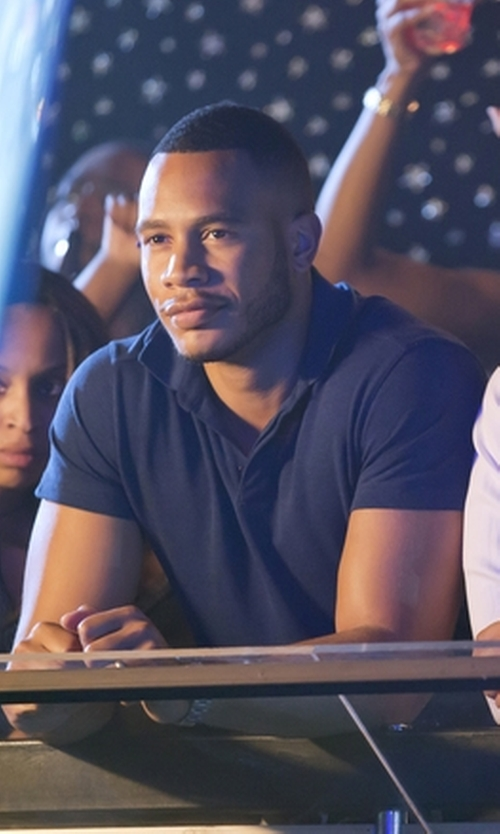 Trai Byers with Vince Slub Short-Sleeve Polo Shirt in Empire