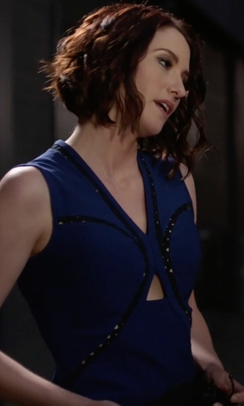 Chyler Leigh with Eight Sixty Sleeveless Mini Dress in Supergirl