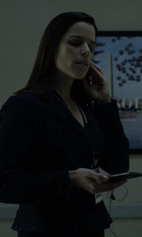 Neve Campbell with Escada Grommet Detail Jacket in House of Cards