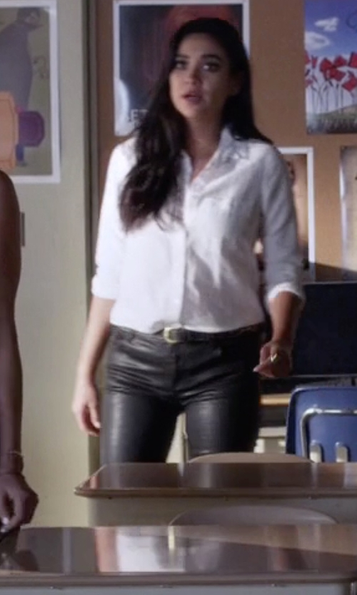 Shay Mitchell with Mother Faux Leather Ankle Jeans in Pretty Little Liars