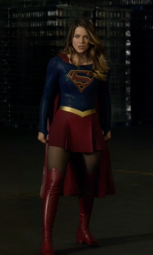 Melissa Benoist with Colleen Atwood (Costume Designer) Custom Made Supergirl Costume in Supergirl