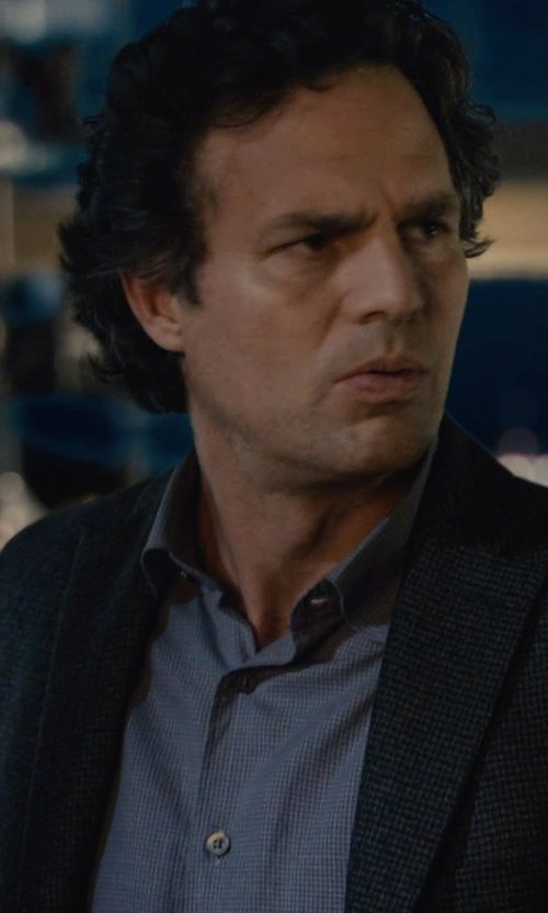 Mark Ruffalo with Ralph Lauren Black Label Classic-Fit Solid Dress Shirt in Avengers: Age of Ultron