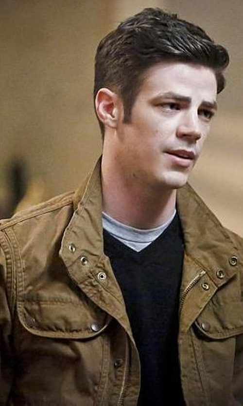 Grant Gustin with Scotch And Soda Canvas Jacket in The Flash
