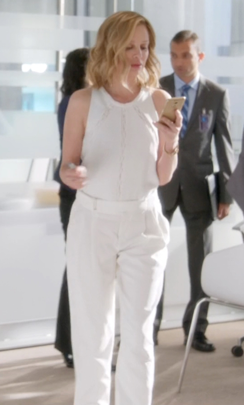Calista Flockhart with MSGM Sleeveless Jumpsuit in Supergirl
