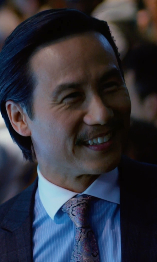 BD Wong with Brioni Contrast-Collar Striped Dress Shirt in Focus