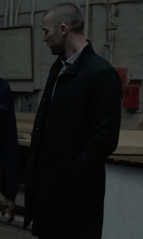 Jake McLaughlin with Theory Porter HL Kingward Single-Breasted Top Coat in Quantico