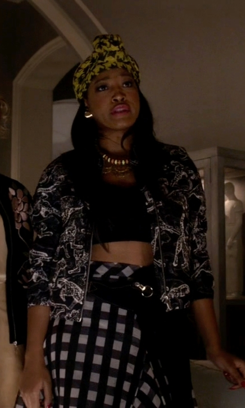 Keke Palmer with H&M Quilted Bomber Jacket in Scream Queens
