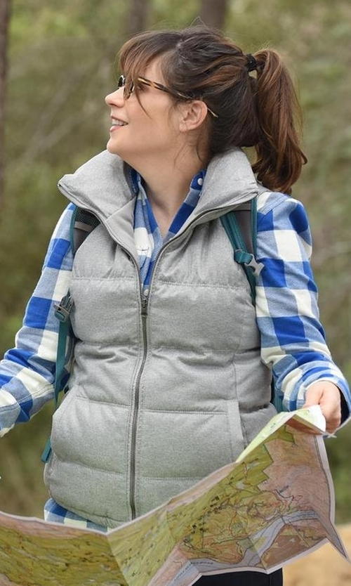 Zooey Deschanel with Old Navy Textured Frost Free Vest in New Girl
