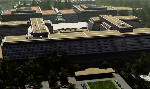 Unknown Actor with CIA Headquarters Building McLean, Virginia in Spy