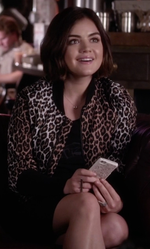 Lucy Hale with Helmut Lang Print T-Shirt Dress in Pretty Little Liars