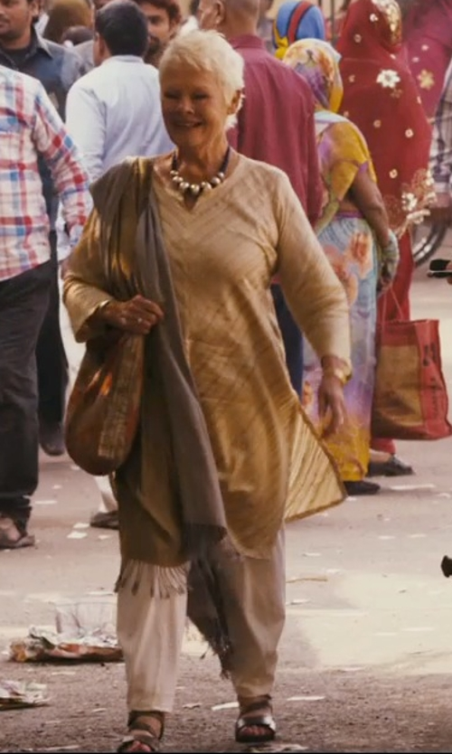 Judi Dench with Vince Camuto Wide Leg Pants in The Second Best Exotic Marigold Hotel