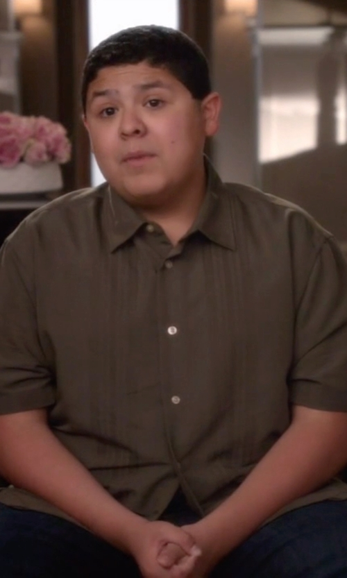 Rico Rodriguez with Van Heusen Men's Short Sleeve Rayon Poly Engineered Panel Shirt in Modern Family