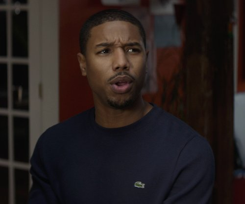 Michael B. Jordan with Lacoste Long Sleeve Waffle Crewneck T-shirt in That Awkward Moment