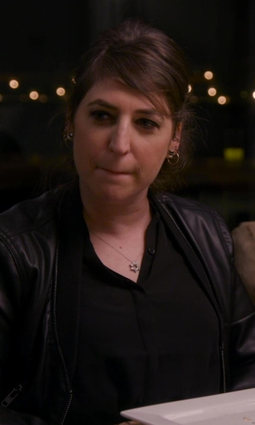 Mayim Bialik with Via Spiga Front Zip Leather Jacket in Chelsea