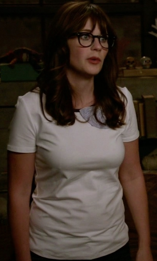 Zooey Deschanel with Kate Spade New York Bow Tee in New Girl