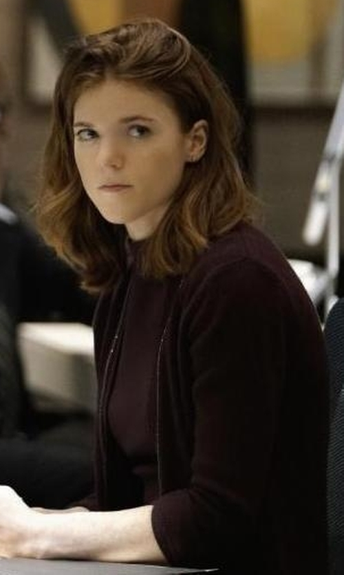 Rose Leslie with Majestic Paris for Neiman Marcus Soft Touch Open Cardigan in The Good Fight
