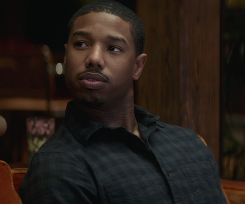 Michael B. Jordan with Z Zegna Gingham Check Cotton Point Collar Dress Shirt in That Awkward Moment